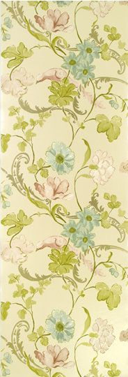 Designer's Guild watercolor floral wallpaper in Champagne by Whitewell