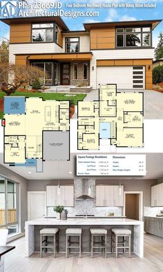 Modern House Plans : Architectural Designs Modern Northwest House Plan 23669JD gives you over 3200 s