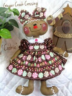 """♥♥ Primitive New Raggedy Gingerbread Doll """"Cookie"""" ♥♥ from Ginger Creek Crossing 