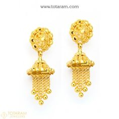 Buy Gold and Diamond Jewelry gifts Online that are made in India and ship from Totaram Jewelers Online in New Jersey USA Indian Gold Jewellery Design, Gold Temple Jewellery, Indian Jewelry, Jewelry Design, Resin Jewellery, Gold Chandelier Earrings, Gold Drop Earrings, Simple Earrings, Dangle Earrings