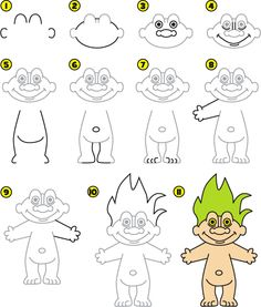 How To Draw A Troll Doll