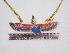 Egyptian Gift Goddess ISIS Open Wings Hand Made Enameled Brass necklace chain pendant Ankh Necklace, Brass Necklace, Necklace Chain, Brass Chain, Chain Pendants, Open Wings, Isis Goddess, Bridal Bracelet, Chandelier Earrings