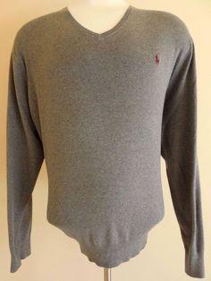 POLO Ralph LAUREN Sweater 3XB Big GRAY Mens SIZE Pima COTTON Pony LOGO V Neck SZ #PoloRalphLauren #VNeck