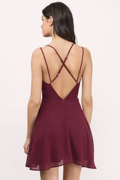 """Shop the """"Casey Wine Skater Dress"""" on Tobi.com now! sexy cross back chiffon skater low v neck sweetheart maroon burgundy red prom wedding guest special occasion date night cute romantic"""