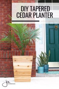 Easily make these tapered cedar planters with the tutorial from Jen Woodhouse Tall Wooden Planters, Wooden Planter Boxes Diy, Tall Outdoor Planters, Planter Box Plans, Raised Planter Boxes, Garden Planter Boxes, Cedar Planters, Patio Planters, Planter Ideas