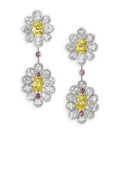 David Morris | Vivid yellow diamond flower earrings with white & pink diamond petals Total weight 40.51cts