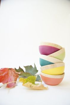 Wooden Mini Bowl Set of Five Bright colors by WindandWillowHome, $36.00