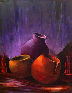 Old Pots 2 by Bozena Zajaczkowska - Malerei Soft Pastel Art, Pastel Artwork, Oil Pastel Drawings, African Paintings, Southwest Art, Still Life Art, Pottery Painting, Pottery Vase, Mexican Art