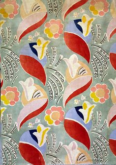 Interesting color palette.'Queen Mary' design for an Omega workshop fabric, by Duncan James Corrowr Grant