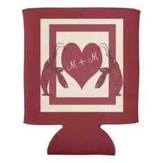 Two Crawfish Heart Drink Cozie: Personalize it for your crawfish boil celebration of love!