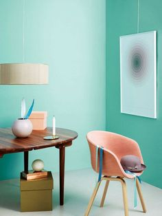 【ELLE DECOR】HAY Chair available at DREAM Interiors! Love the wall color more than the chair