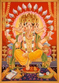We boast an exhaustive collection of Hindu Gods & Goddess Paintings. ExoticIndia is the largest online store for Indian Art. Shri Ganesh Images, Ganesha Art, Lord Ganesha, Hindu Deities, Hinduism, Bhagavata Purana, Shree Ganesh, Ganpati Bappa, Durga Goddess