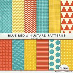 Digital Paper  Blue Mustard Red Patterns  Scrapbooking by KHDigi