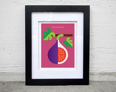 Hand-signed pear print fruit poster wall decor by ChristopherDina