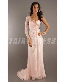 One Shoulder Column Beaded Chiffon Pink Prom Dress Pink Prom Dresses, Designer Prom Dresses, Prom Dresses With Sleeves, Cheap Prom Dresses, Nice Dresses, Sleeve Dresses, Long Dresses, Bridesmaid Dresses, Long Sleeve Evening Dresses