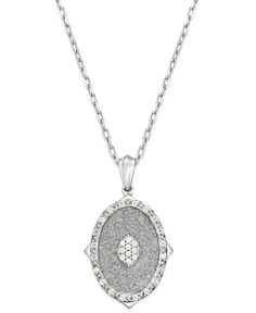 332c483e979f Macy s Diamond Glitter Oval Pendant Necklace (1 6 ct. t.w.) in Sterling  Silver   Reviews - Jewelry   Watches - Macy s