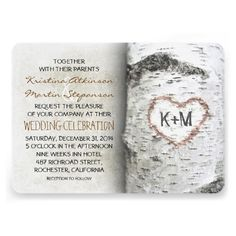 Carved heart birch tree rustic wedding invitations