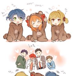 gekkan shoujo nozaki-kun. baby kashima, sakura, and seo in adorable tanuki onsies X3 the looks on the boys face <3 just too adorable!