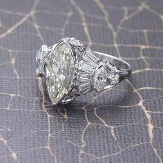 Stunning Retro Moderne Marquise Diamond Ring. 2.83 ct center marquise cut diamond.