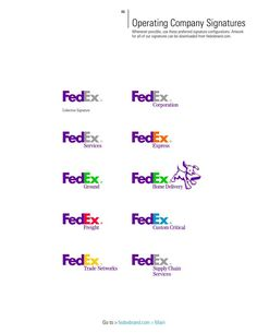 FedEx Brand Identity Quick Reference Guide is a nice little PDF covering the most basic of brand guideline advice for the FedEx range of logos.