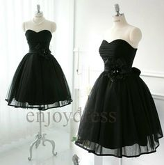 @Pati Diaz Custom Black Tulle  Prom Dresses Short Ball Gown by enjoydress, $83.00