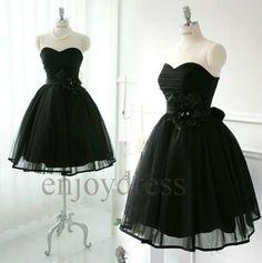 Custom Black Tulle  Prom Dresses