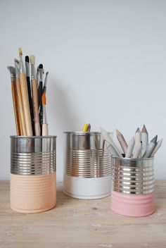 Organize pencils for your office in DIY painted soup cans