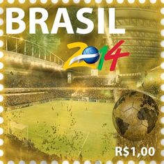 The 2014 World Cup in Brasil Postage Stamp