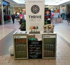 """THRIVE Juice Co. came by to promote and sample their """"cold pressed juice company"""" at #TheCentre in Saskatoon."""