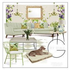"""Pale green living"" by frenchfriesblackmg ❤ liked on Polyvore featuring interior, interiors, interior design, home, home decor, interior decorating, Nina Campbell, Joybird Furniture, mater and Heathfield & Co."