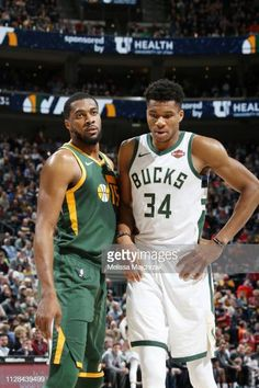 b70c38ff9e75 Derrick Favors of the Utah Jazz and Giannis Antetokounmpo of the Milwaukee  Bucks seen on court during the game on March 2 2019 at vivintSmartHome.