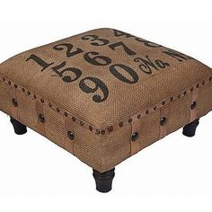 Love this burlap ottoman # # stenciled numbers and decorative Upholstery tacks. Burlap Projects, Burlap Crafts, Diy Projects, Furniture Projects, Furniture Makeover, Diy Furniture, Furniture Design, Burlap Ottoman, Pallet Ottoman
