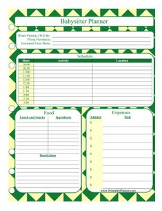 Baby Schedule Template-can leave this for the babysitter   baby k ...