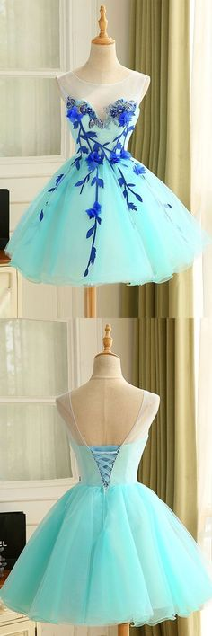 A-Line Crew Neck Short Mint Appliques Homecoming Dress
