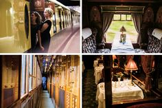 Clockwise from above: the authors step aboard the ''Lucille'' carriage of the Belmond British Pullman at London's Victoria Station; a restored dining car on the Pullman; a dining carriage on the Venice Simplon-Orient-Express; a steward in the narrow corridor.