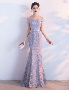 Lace Evening Dress Mermaid Off The Shoulder Evening Gowns Light Grey Sash Maxi Formal Dress