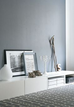 love the grey wall and the low furniture on the floor