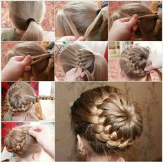 This links to a page in Spanish, but hopefully, the pictures are clear enough that you don't need a translator. This braided bun is really pretty.