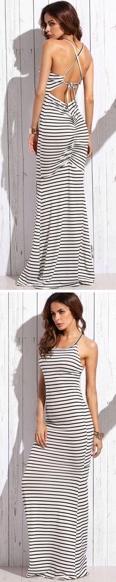 White Striped Crisscross Shirred Back Maxi Dress