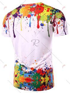 Colorful Splatter Paint Pattern Turndown Collar Long Sleeve Shirt - White - M Long Sleeve Shirt Dress, Long Sleeve Shirts, Dress Shirts, Paint Splatter Shirt, Painted Shorts, Swagg, Mens Tees, Mens Fashion, Fashion 2016