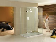 three-sided glass shower; accent wall