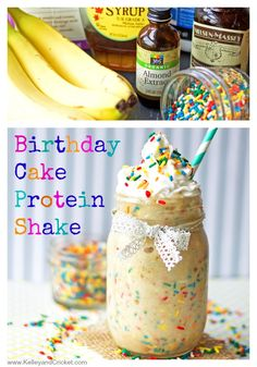 Start your morning off right with a {healthy} Birthday Cake Protein Shake!