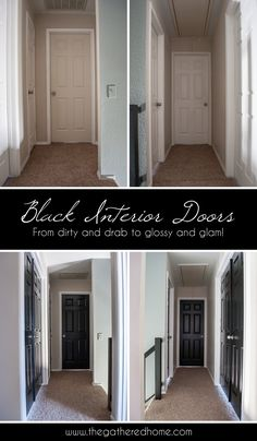 A simple DIY project with dramatic results! A few coats of glossy black paint can completely transform dingy doors that are showing their age! www.thegatheredhome.com