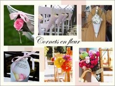 decoration chaise bancs d'eglise  mariage composition florale cornet de fleurs