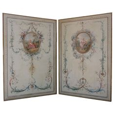 1stdibs.com | Pair Large French Painted Canvas Panels