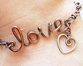 Oxidized. Copper. Wirewrapped. Love. Heart.  Bracelet.