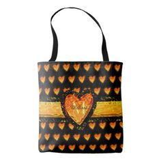Elegant Orange Heart Valentines Black Monogram Tote Bag - anniversary gifts ideas diy celebration cyo unique