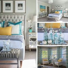 Color Palette | dark teal with accents of yellow and dark purple with the clean gray and white | Master Bedroom Ideas