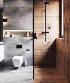 Minimal Interior Design Inspiration - Home - Apartment Bathroom Design Luxury, Bathroom Layout, Modern Bathroom Design, Bathroom Goals, Washroom Design, Bathroom Cabinets, Bathroom Ideas, Modern Small Bathrooms, Glass Bathroom