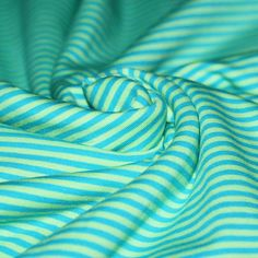 Katoenen Jersey Strepen : Strepen Jersey 3mm Aqua Lime